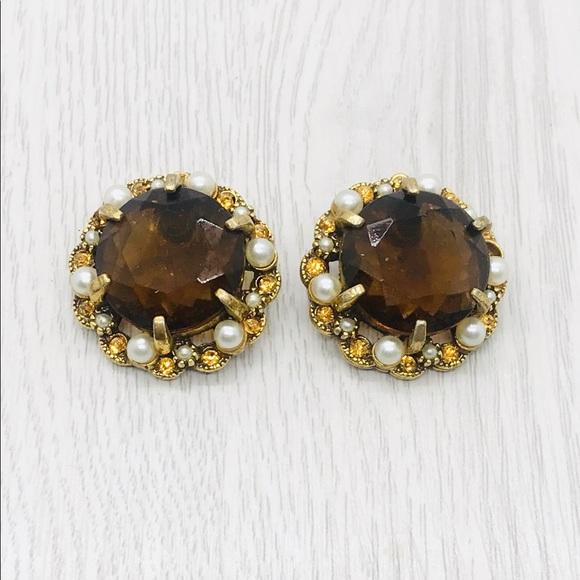 "Jewelry - Vintage Signed ""Art"" Rhinestone Glass Earrings"